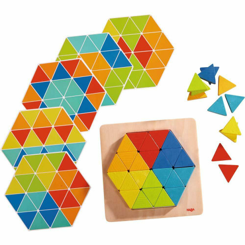 HABA Arranging Game Magical Pyramids - 36 Triangular Wooden Tiles with Templates