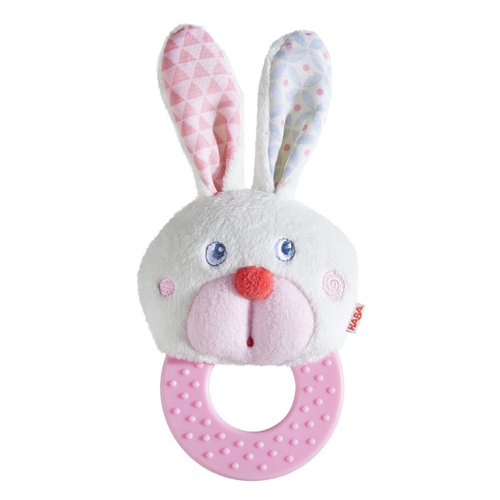 HABA Chomp Champ Bunny Teether - Soft Lightweight Clutching Toy with Crinkle Ears and Plastic Teething Ring
