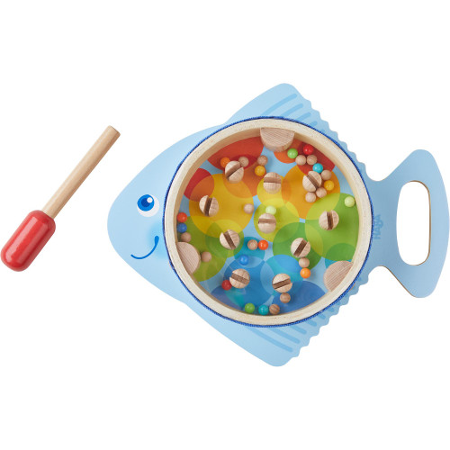 HABA Musical Drumfish - 3 Percussion Instruments in 1 - Drum, Rhythm Stick & Maraca - Brightly Colored for Ages 2+