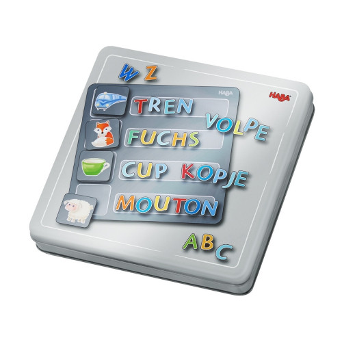 HABA Magnetic Travel Tin Alphabet - 136 Magnetic Pieces with 4 Background Scenes for Ages 5+