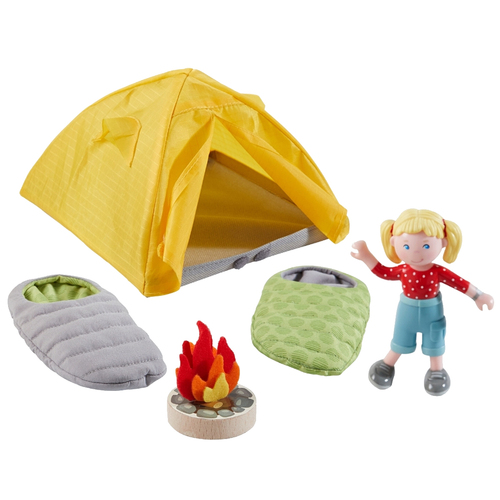 """HABA Little Friends Camping Play Set - Includes Tent, 2 Reversible Sleeping Bags, Campfire and 4"""" Bendy Girl Figure"""