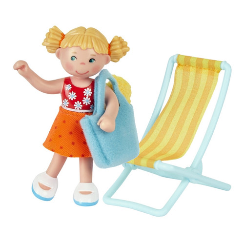 "HABA Little Friends Tina - 4"" Dollhouse Girl Figure with Removable Skirt, Beach Bag, Towel and Beach Chair - Includes Tri-Fold Beach Scenery"