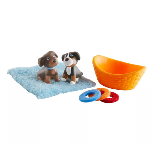 HABA Little Friends Puppies - Includes 2 Pups, Blanket, Basket and 3 Frisbees
