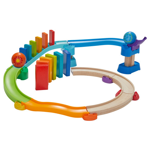 HABA Kullerbu Kringel Domino Playset - 33 Piece Ball Track Starter Set with Two Sets of Falling Dominoes - Ages 2+