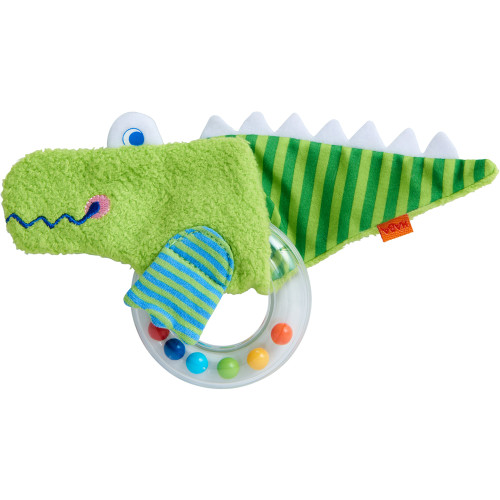 HABA Clutching Toy Crocodile Fabric Teether with Removable Plastic Rattling Ring