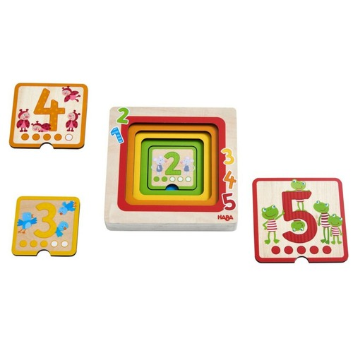 HABA Counting Friends Wood layering puzzle Fosters Number Recognition from 1-5