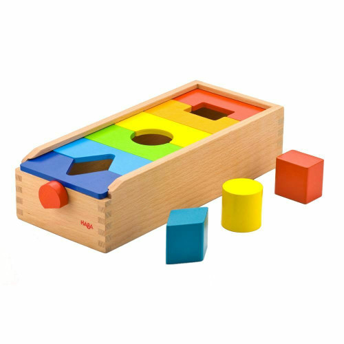 HABA Fit & Play Rainbow Shape Sorting Box with 6 Wooden Groove & Lock Tiles to Rearrange The Shapes