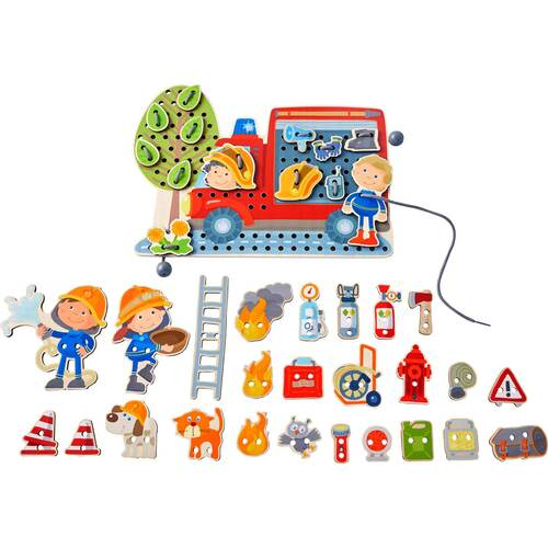 HABA Fire Engine Rescue Themed Threading Game