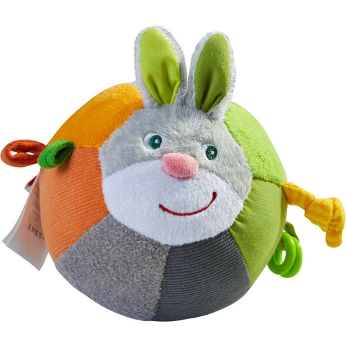 HABA Bunny Ball with Crinkle Ears, Textured Fabric and Rattling Effects