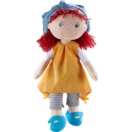 """HABA Freya 12"""" Machine Washable Soft Doll with Red Hair, Blue eyes and Embroidered Face"""