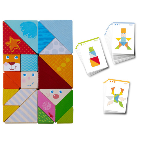 HABA Funny Faces Tangram Wooden Tile Arranging Game with 20 Template Cards (Made in Germany)