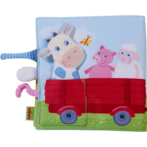 HABA Fabric Book Down on the Farm with Removable Finger Puppet