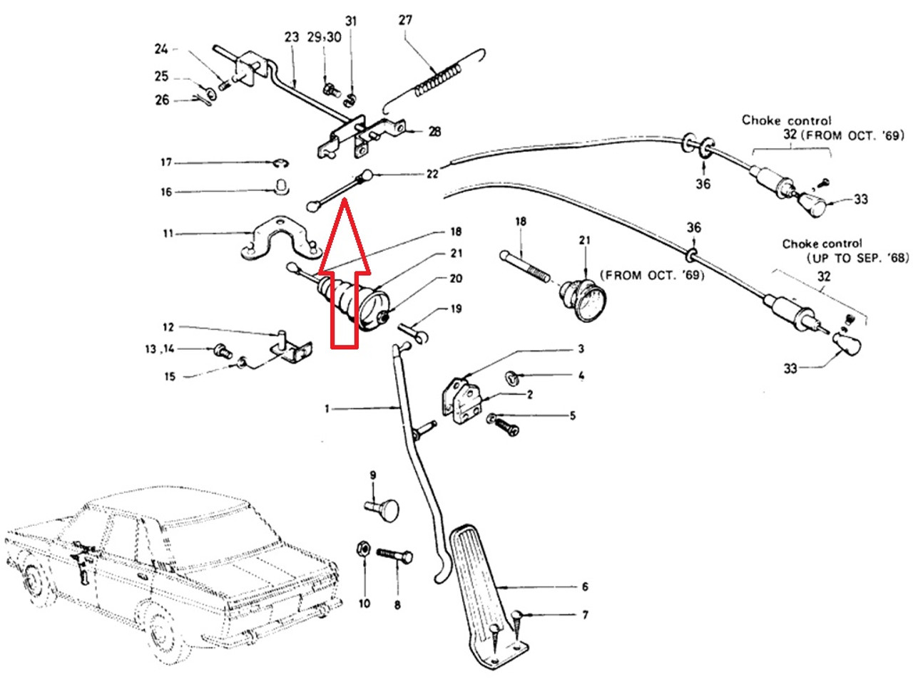 X Throttle Linkage Connecting Rod At Firewall Datsun 510