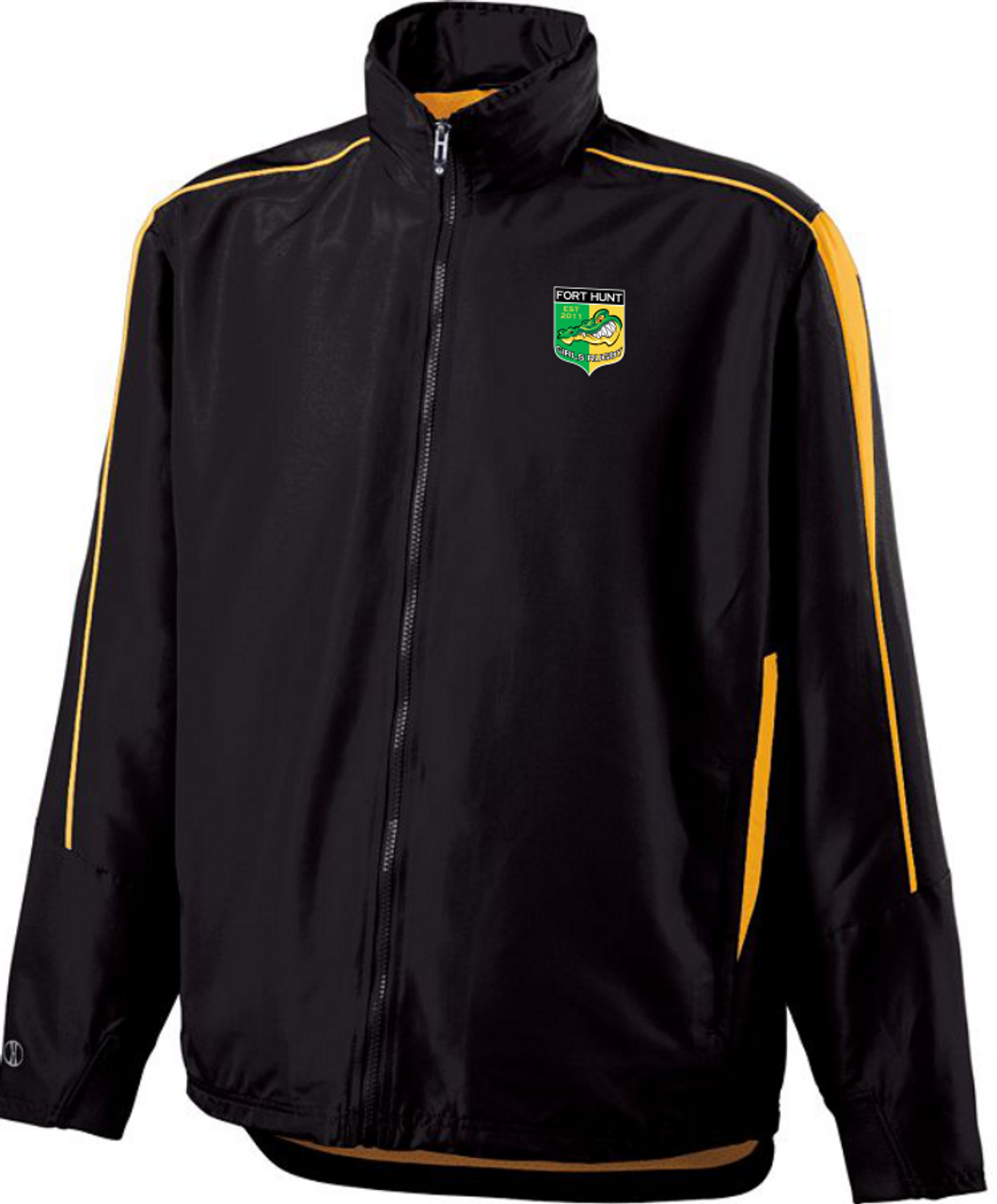 Warm-up jacket shown with tuck-away hood rolled into the collar.