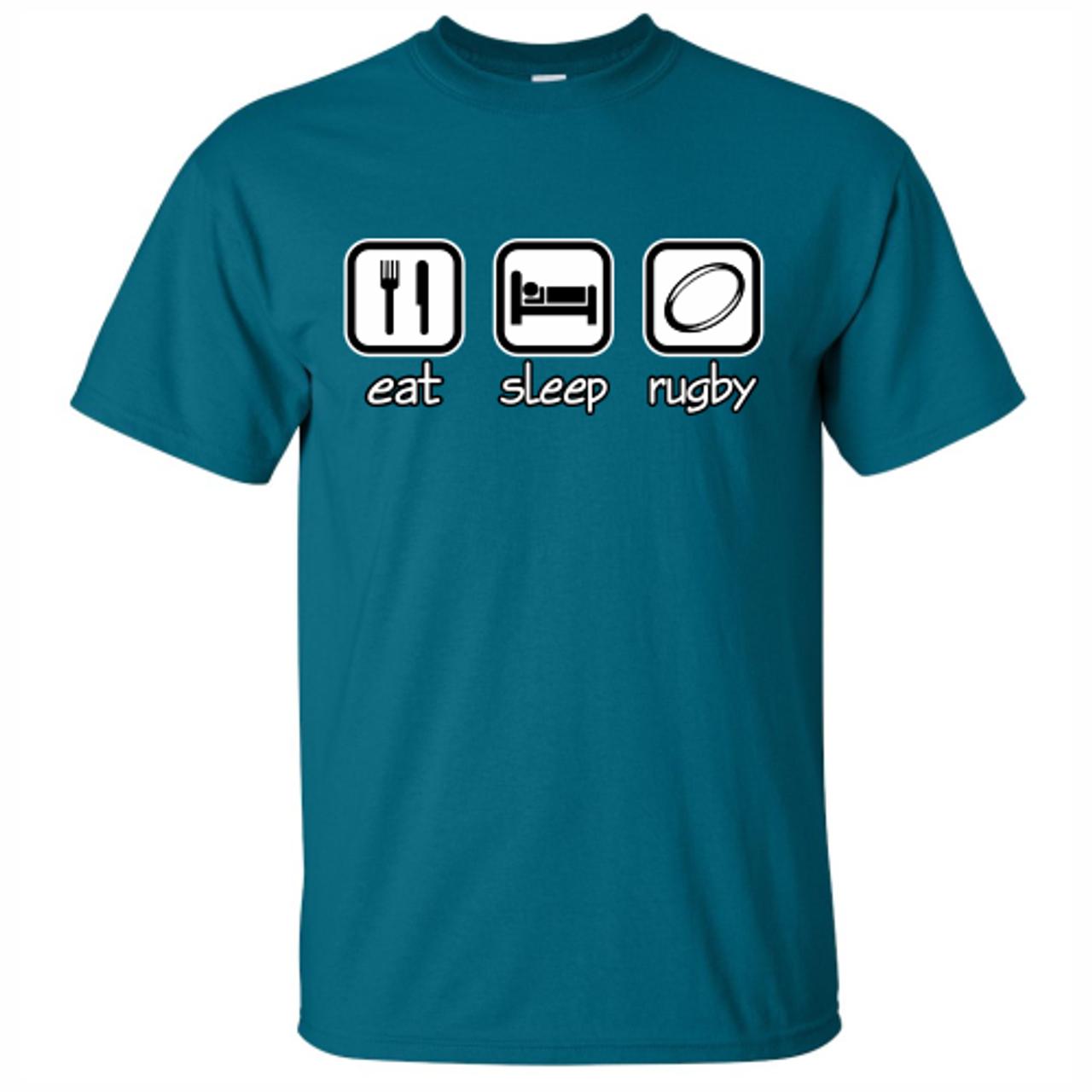 'Eat, Sleep, Rugby' Tee, Teal