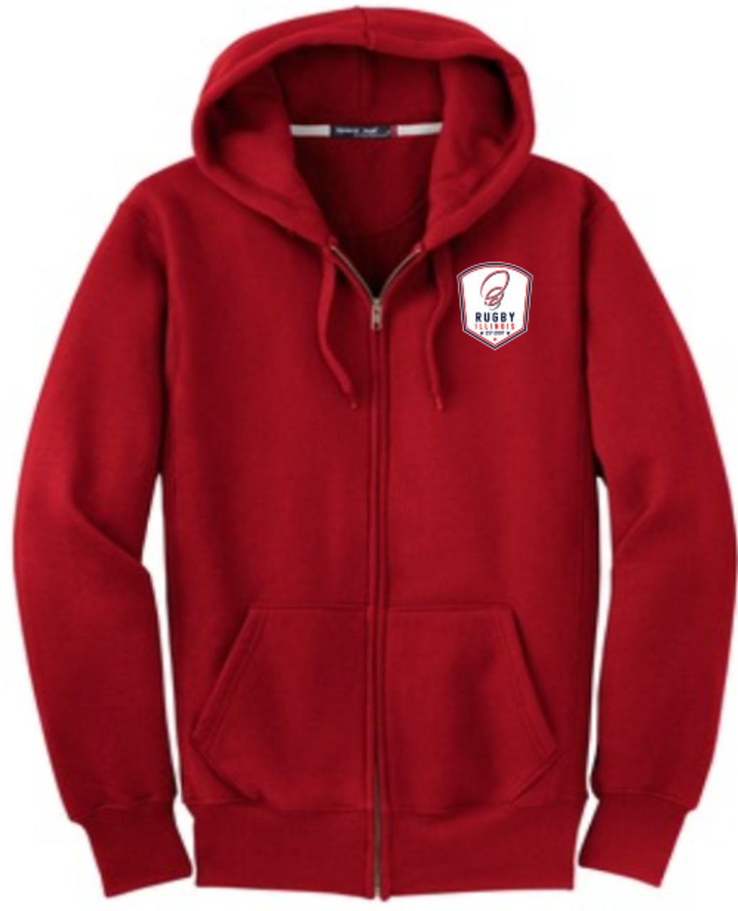 Rugby Illinois Super Heavyweight Full-Zip Hoodie, Red
