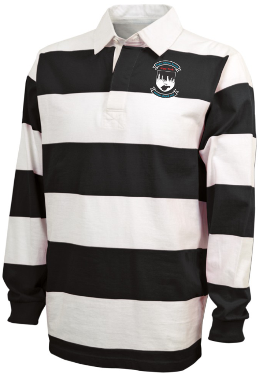 RRSNY Rugby Stripe Polo, Black/White