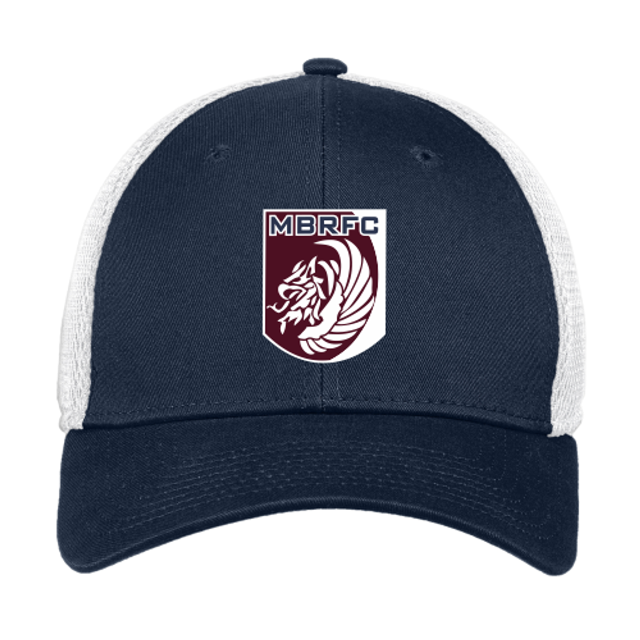 MB Rugby Stretch-Fit Mesh-Back Hat, Navy/White
