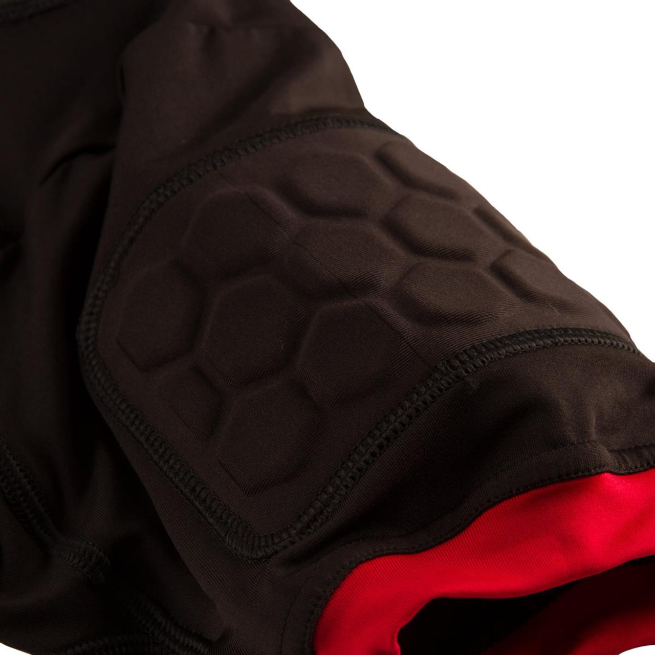 Flat, celluar padding in the sleeves for arm protection.