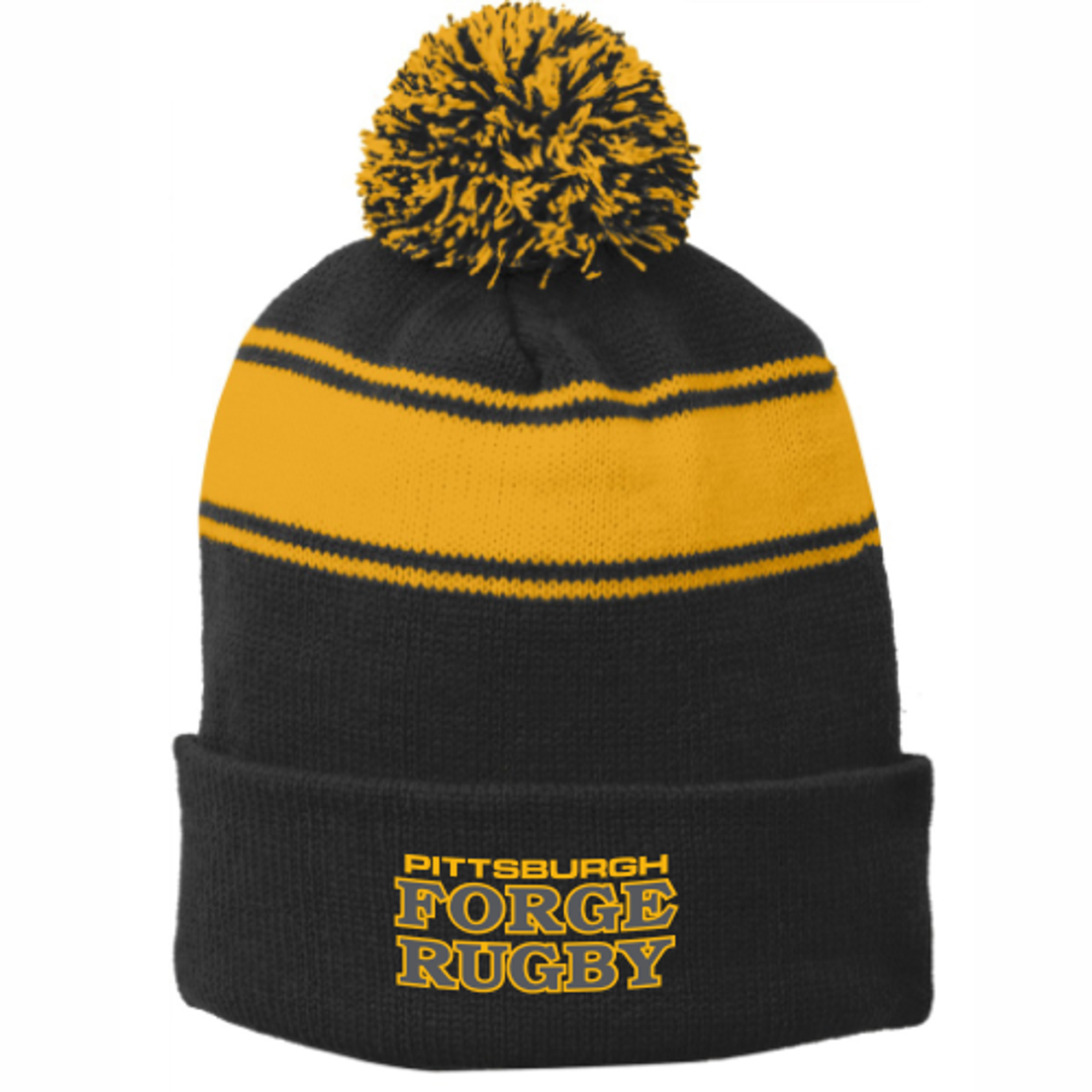 Forge Striped Pom Beanie
