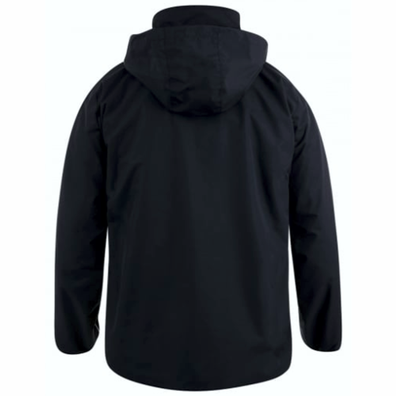 Shown with hood out. Hood is a tuck-away style and folds into the collar if desired.