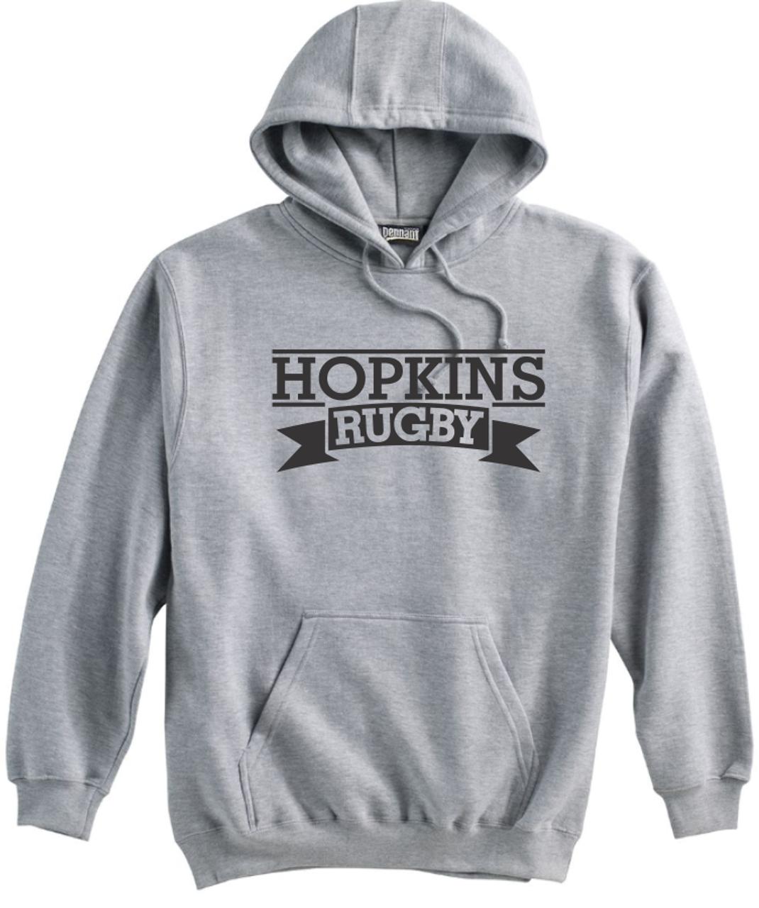Hopkins Men's Rugby Hoodie, Gray