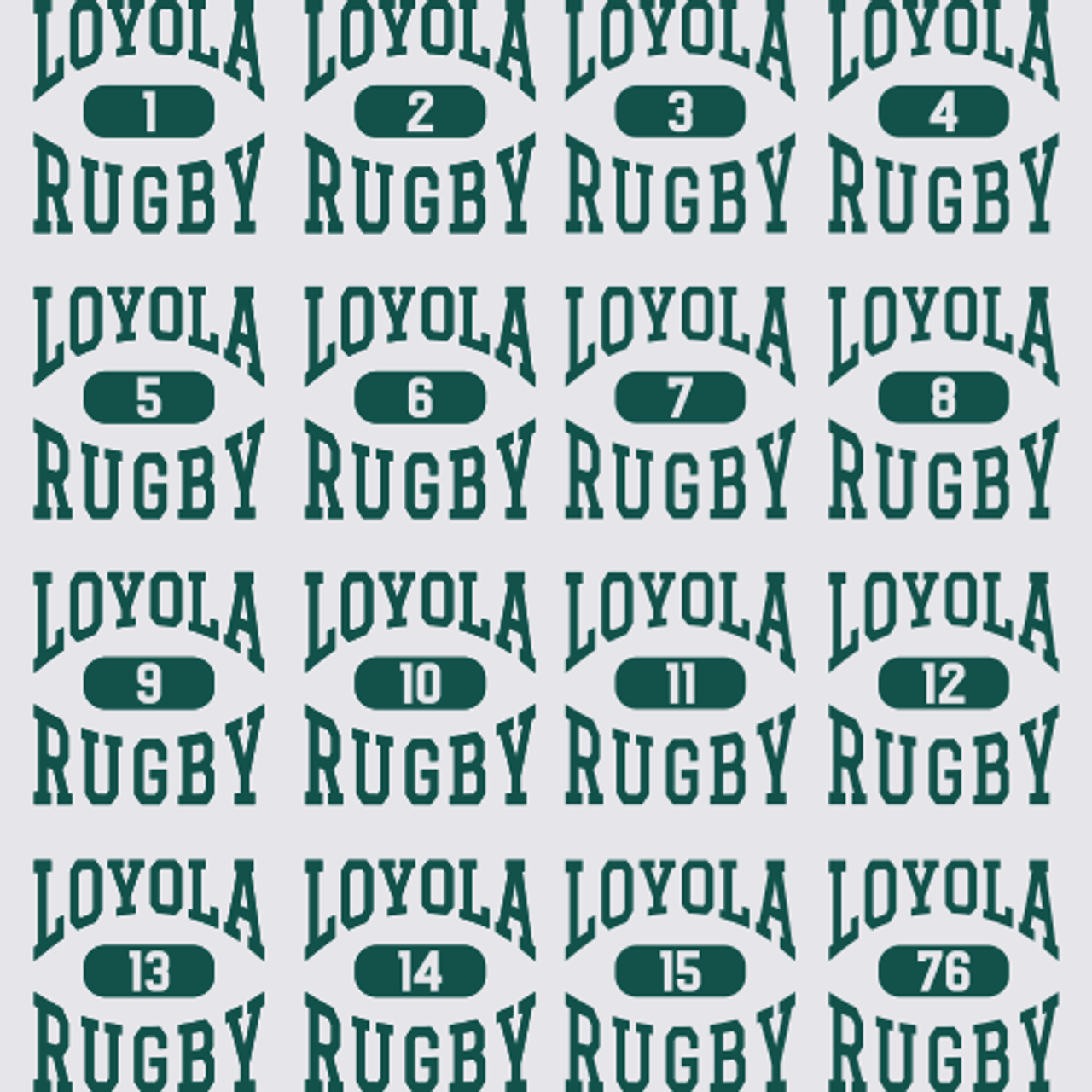 YOUR CHOICE of number is used for production.  You can use standard rugby numbers or graduation year.