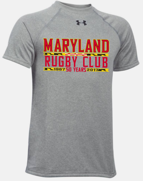 Maryland Rugby Club 50 Years UA Locker Tee, Gray Heather