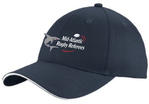 Mid-Atlantic Rugby Referees Twill Adjustable Hat, Navy/White