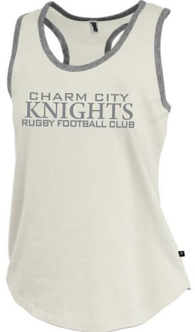 Charm City Knight Ladies-Cut Racerback Tank, Antique White