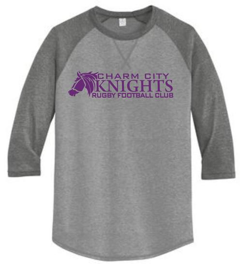Charm City Knights 3/4-Sleeve Tee, Smoke/Coal