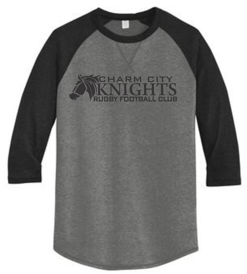 Charm City Knights 3/4-Sleeve Tee, Coal/Black