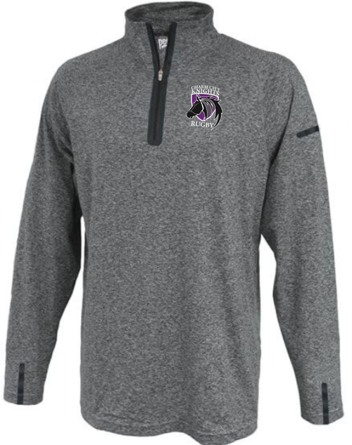 Charm City Knights Space Dye 1/4-Zip, Heather Gray/Black
