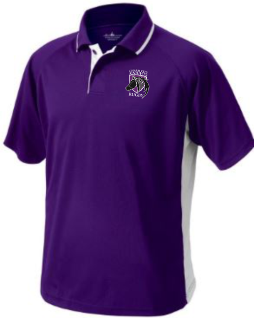 Charm City Knights Performance Polo, Purple/White