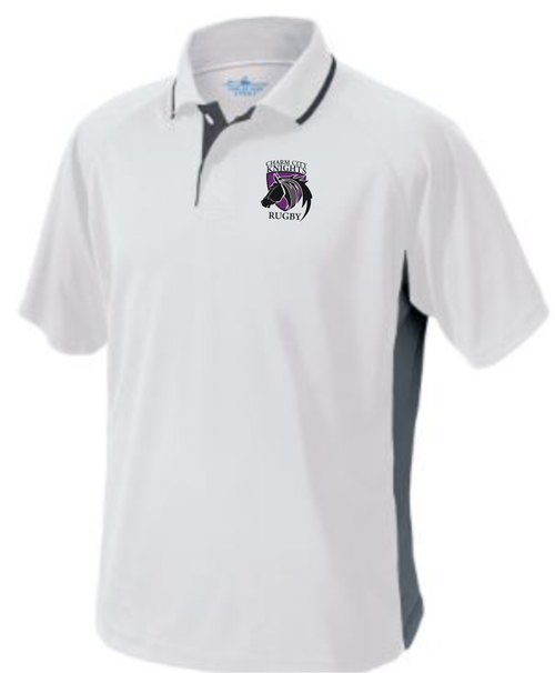 Charm City Knights Performance Polo, White/Gray