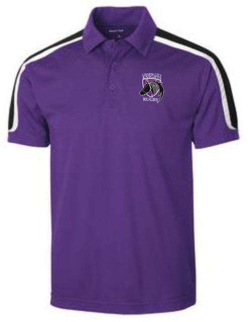 Charm City Knights Micropique Polo, Purple with White & Black