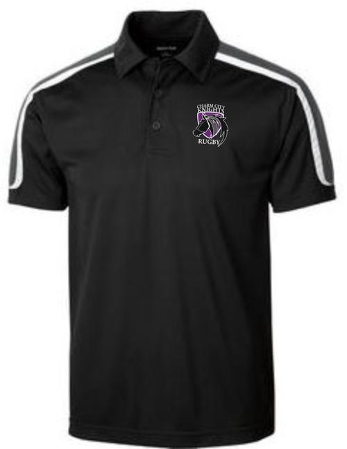 Charm City Knights Micropique Polo, Black/White/Gray