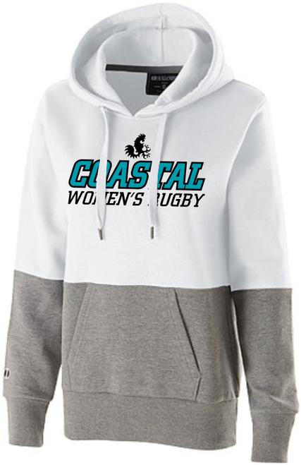Coastal Carolina WRFC Ladies-Cut Hoodie, White/Gray