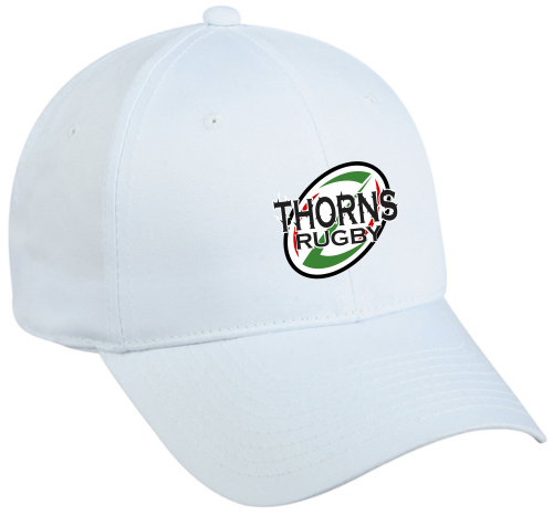Thorns Rugby Twill Adjustable Hat, White