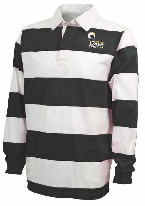 Syracuse Chargers Stripe Polo, Black/White