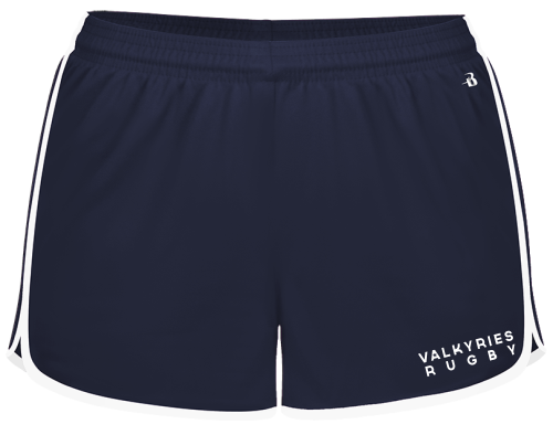 Southern MD Valkyries Ladies-Cut Gym Short, Navy/White