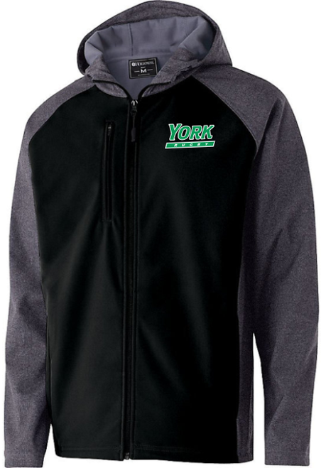 York College Youth Grey Fleece Hood Officlal Logo