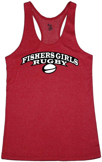 Fishers Girls Performance Racerback Tank, Heather Red
