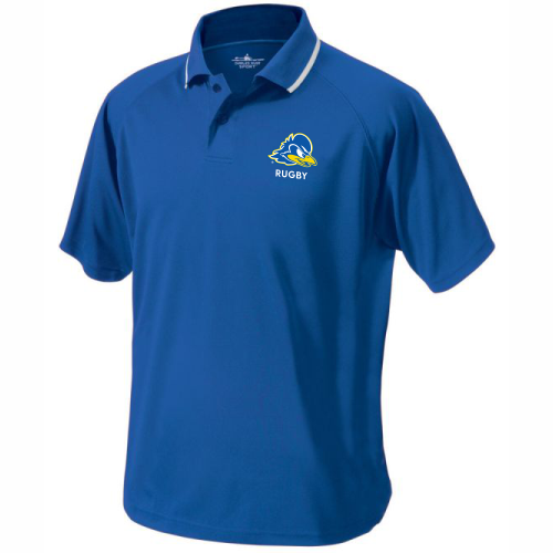 Delaware Rugby Performance Polo, Royal/White