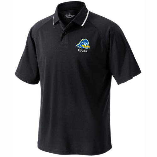 Delaware Rugby Performance Polo, Black/White