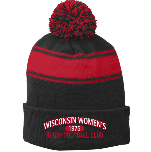 Wisconsin WRFC Striped Pom Beanie