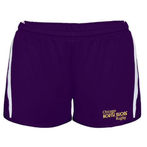 Chicago North Shore Ladies-Cut Gym Shorts, Purple/White