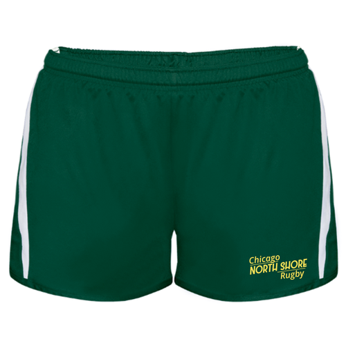 Chicago North Shore Ladies-Cut Gym Shorts, Forest/White