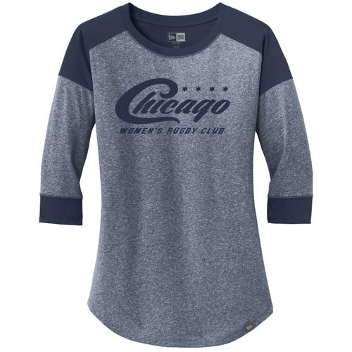 Chicago WRFC Ladies-Cut 3/4-Sleeve Tee, Navy/Heathered Blue