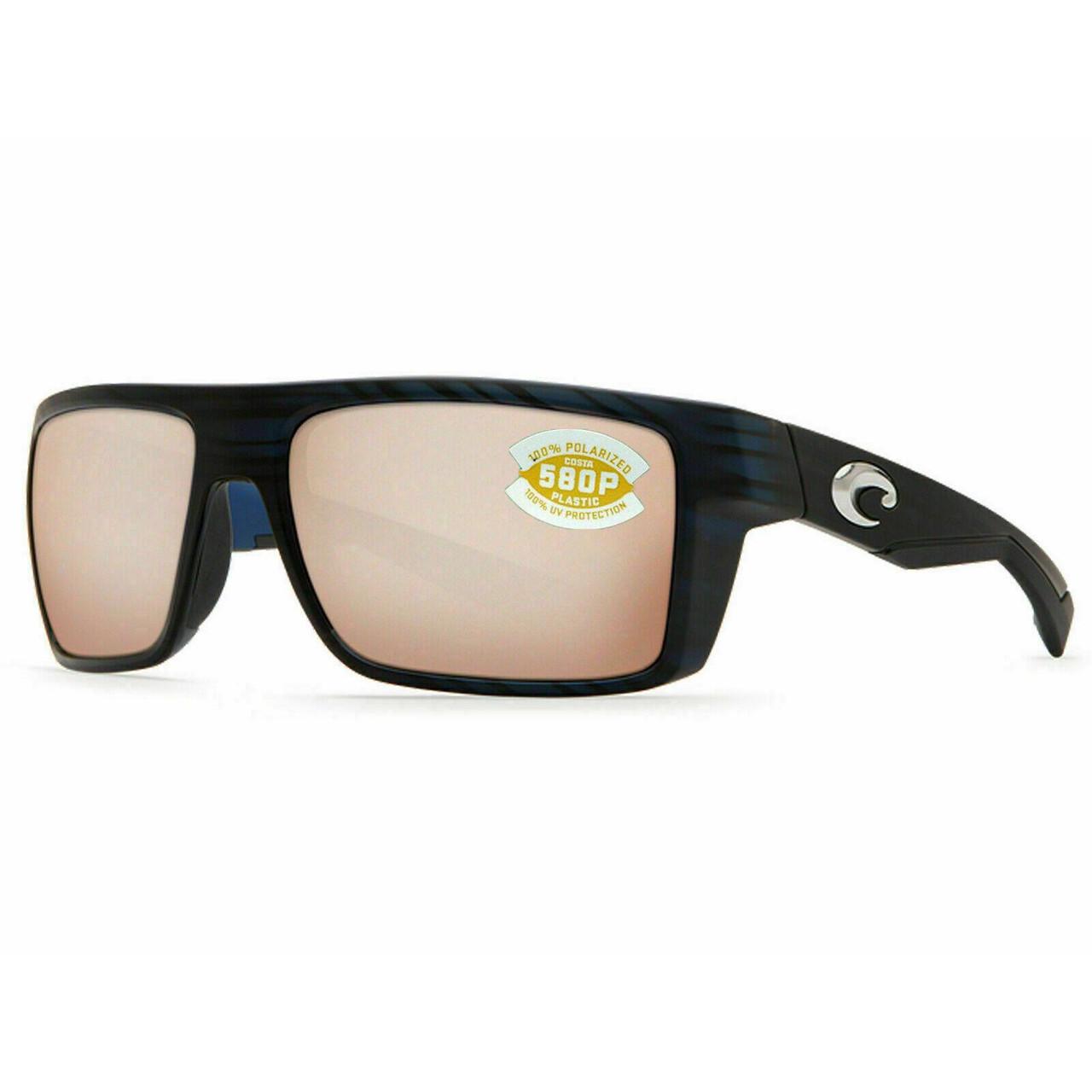 Costa Del Mar Motu Polarize Sunglasses Black Teak Blue/Copper Silver Mirror 580P